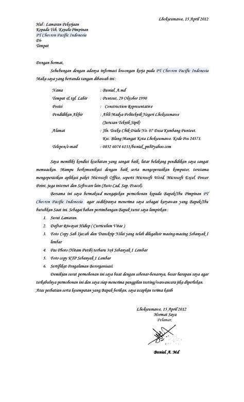 Contoh Kepala Surat Lamaran Kerja by Contoh Surat Lamaran Kerja Ke Pt Chevron Ben