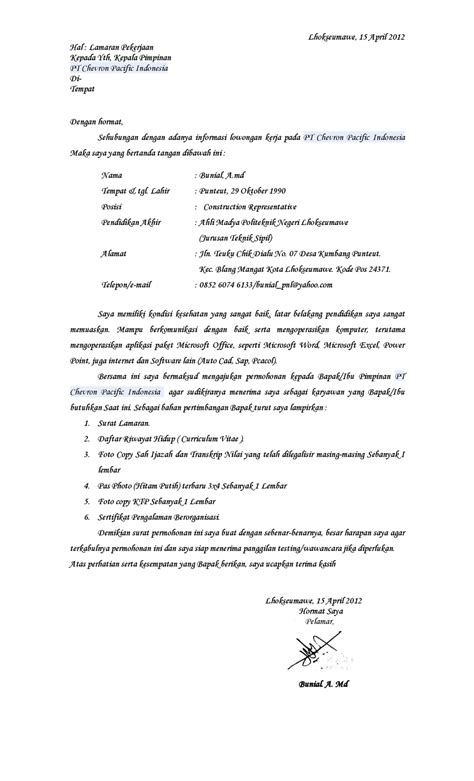 contoh surat lamaran kerja  pt chevron ben jobs