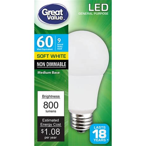 great value led light bulb 8 5w 60w equivalent a19 e26