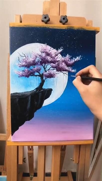 Tree Painting Cherry Acrylic Blossom Moon Canvas