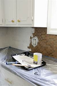 How to paint a tile backsplash a beautiful mess for Painting backsplash tiles in kitchen