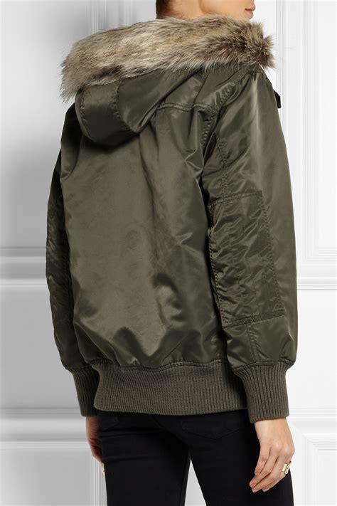 jcrew faux fur trimmed hooded shell bomber jacket