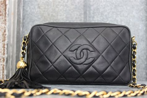 chanel vintage black quilted lambskin small camera bag tassel