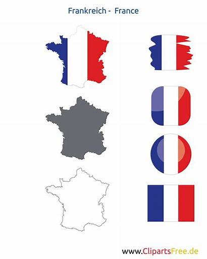 Frankreich Karte Flagge Icon Fahne Kontur Button
