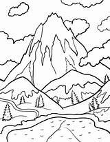 Stream Water Drawing Mountain Coloring Printable Getdrawings sketch template