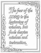Proverbs Coloring Pages Printable Lord Fear Bible Adron Mr Sheets Christian Verse Colouring Adult Scripture Verses Crafts Children Craft Study sketch template