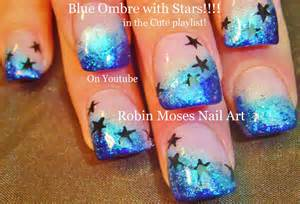 Nail art spring new tutorial up blue glitter