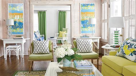 Family Lake Home Vibrant Color by 48 Beautiful Beachy Living Rooms Coastal Living
