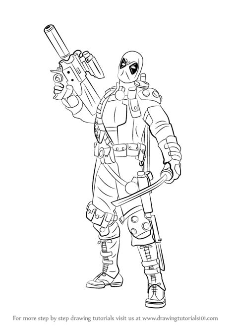 step  step   draw deadpool   gun drawingtutorialscom