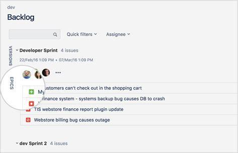 epics jira epic create backlog panel agile atlassian software