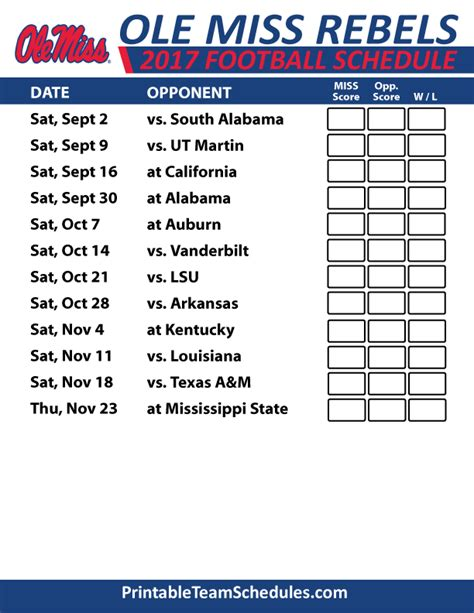 ole rebels football printable schedule sec football