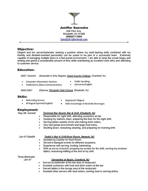 Sle Resume For Bartender Server by Bartender Objectives Resume Bartender Objectives Resume