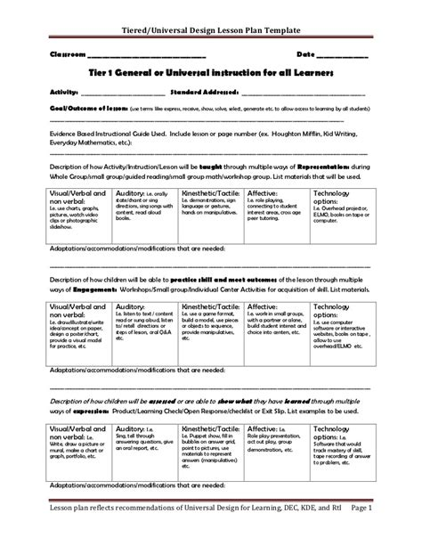Tiered Planning Template by Tiered Lesson Plan Template