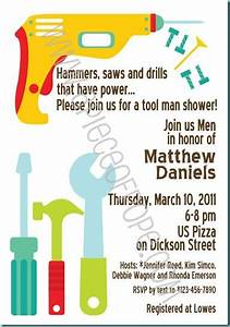 Tool shower man party pinterest bridal showers for Man wedding shower invitations