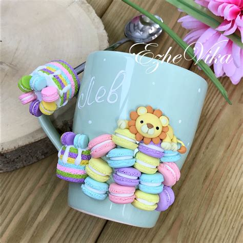 mugs decorated  polymer clay