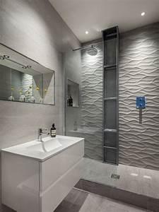 carrelage mural grand format 3d en gris comme accent dans With faience salle de bain grand format