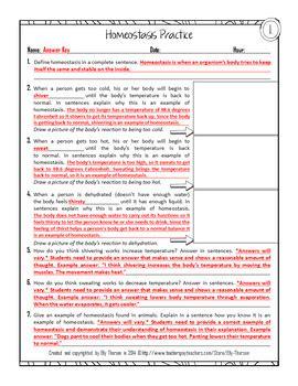 homeostasis practice worksheet  homework assignment