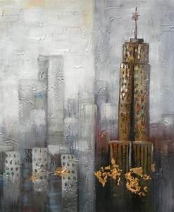 Toile Peinture Pas Cher : peinture sur toile building tableau peint city ~ Mglfilm.com Idées de Décoration