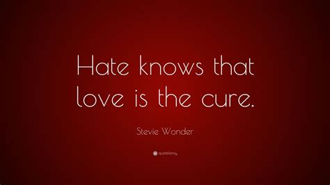 Stevie Wonder Quote: Hate knows that love is the cure