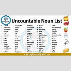 Uncountable Noun List  English Study Here