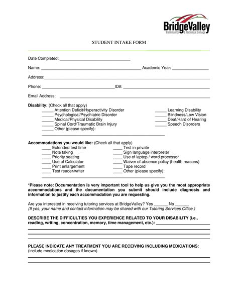 student intake form templates  allbusinesstemplatescom