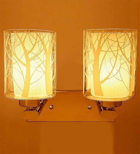 aesthetics contemporary glass designer wall light with two l shades by aesthetics home