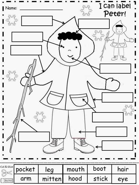 snowy day worksheets label pete story maps bubble