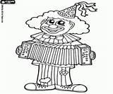 Clown Accordion Coloring Palhaco Grać Akordeonie Jogando Acordeao Colorir Kolorowanki Cyrku Playing Circo Desenhos Um sketch template
