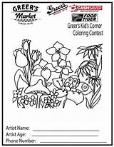 Coloring Pages Spring Corner Flower Printable Adult Sheets Garden Sheet Colouring sketch template