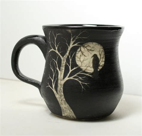 Coffee painting canvas coffee artwork crop pictures night pictures silhouette painting couple painting stars and moon faeries unique art. Large Porcelain Sgraffito Moon Raven Tree Mug