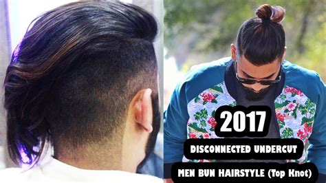 disconnected undercut  men bun hairstyle top