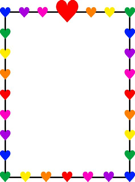 rainbow hearts border frame  clip art