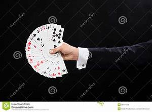 Close Up Of Magician Hand Holding Playing Cards Royalty ...