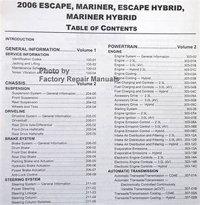 2006 Ford Escape  Mercury Mariner Factory Shop Service