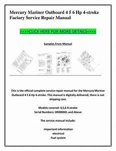 Mercury 4 Stroke Outboard Service Manual