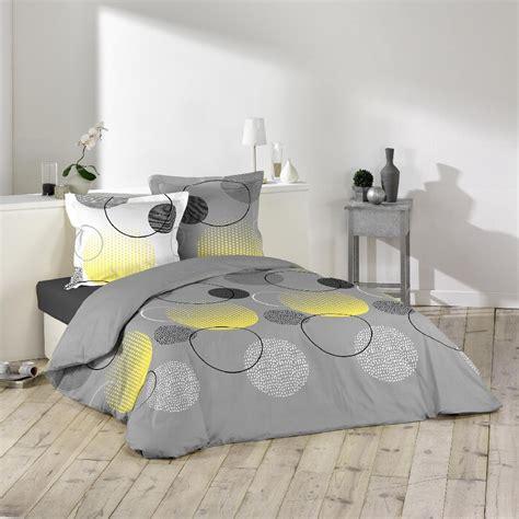 parure de lit gris parure lit 2 places ronds pois jaune gris housse de