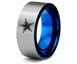 Dallas cowboys blue tungsten wedding band ring mens womens for Dallas cowboys wedding ring