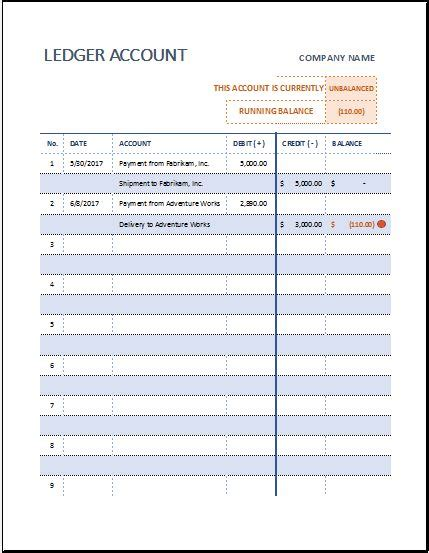 ledger account sheet template  ms excel excel templates