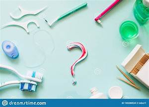 Teeth Care Frame Concept With Manual Toothbrushes And Oral