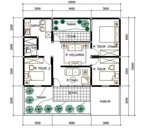denah rumah type   kamar tidur  desain rumah minimalis