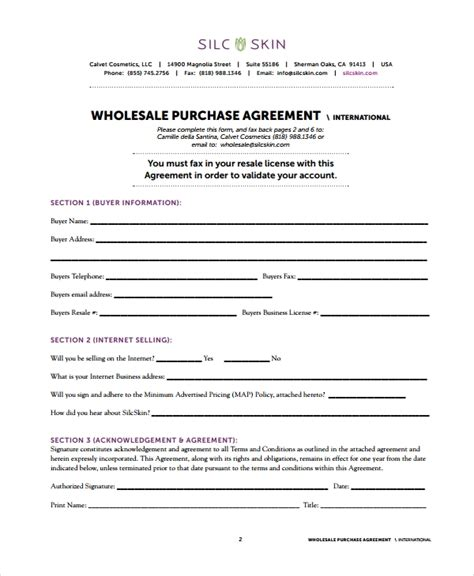 wholesale agreement templates  word apple pages