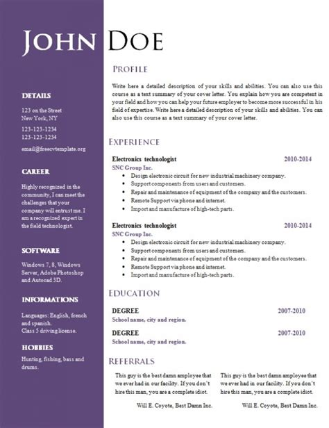Word Resume Free by Free Resume Template Word Doc Design