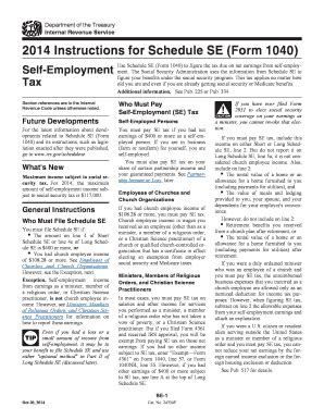 2014 form irs 1040 schedule se fill printable fillable blank pdffiller
