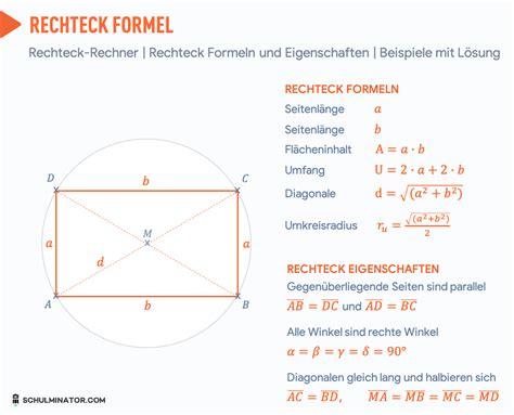 rechteck formel  berechnen mit rechteck rechner