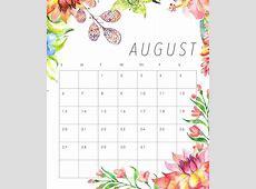 Cute August 2018 Calendars – Printable 2018 Calendar
