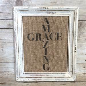shabby fabrics amazing grace burlap amazing grace sign art print cross vintage