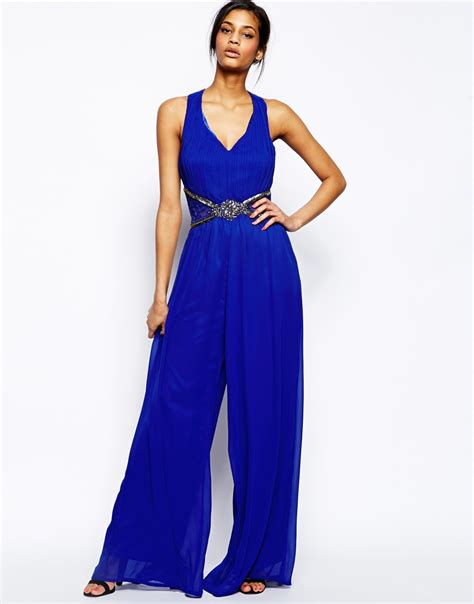 blue jumpsuit lyst jumpsuit with cross back and