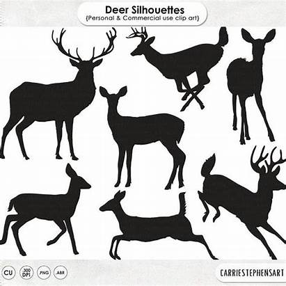 Deer Clip Buck Doe Clipart Silhouettes Reindeer