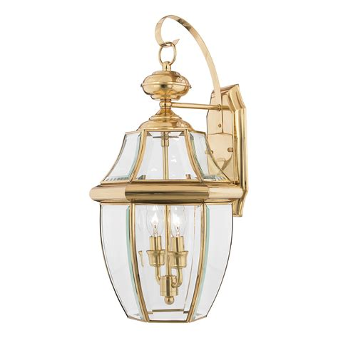 newbury large outdoor wall lantern polished brass