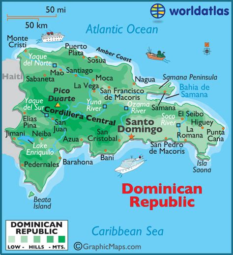 dominican republic large color map